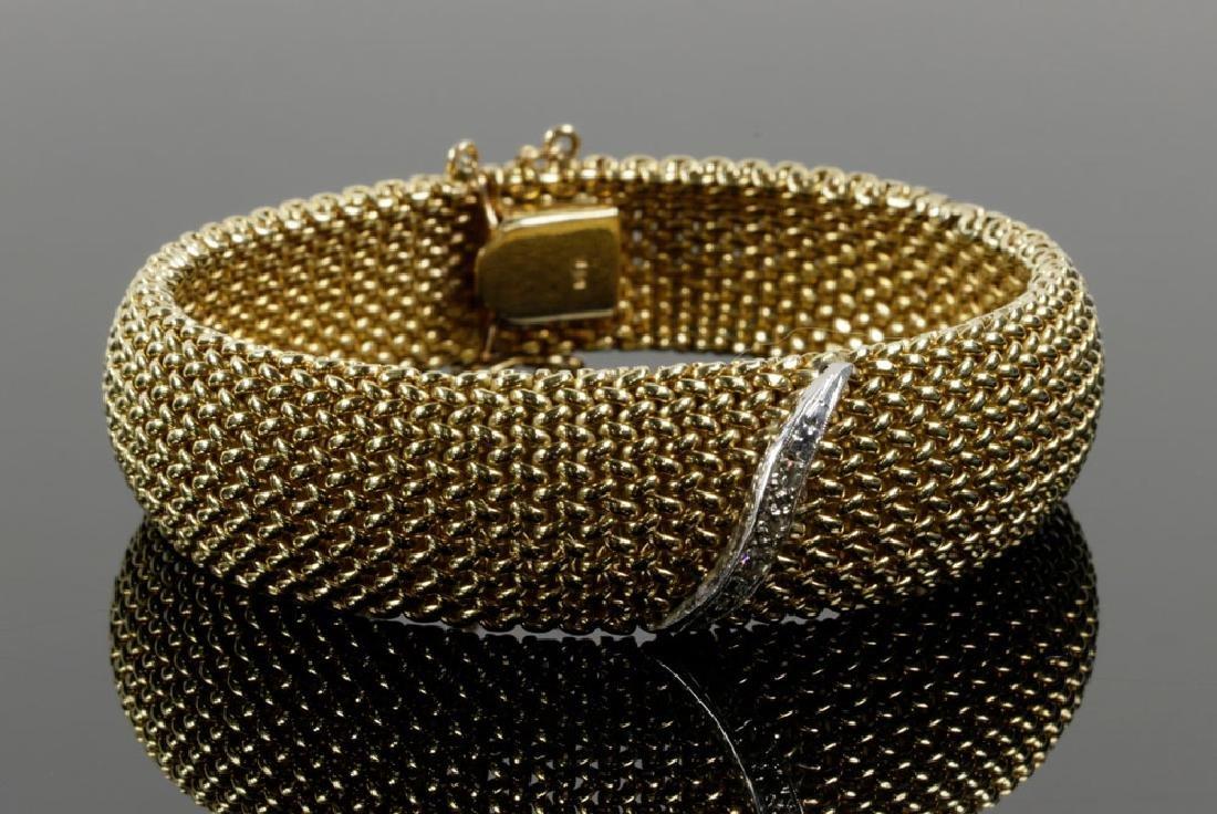 14K Gold Mesh and Diamond Bracelet