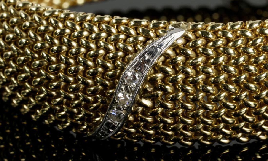 14K Gold Mesh and Diamond Bracelet - 2