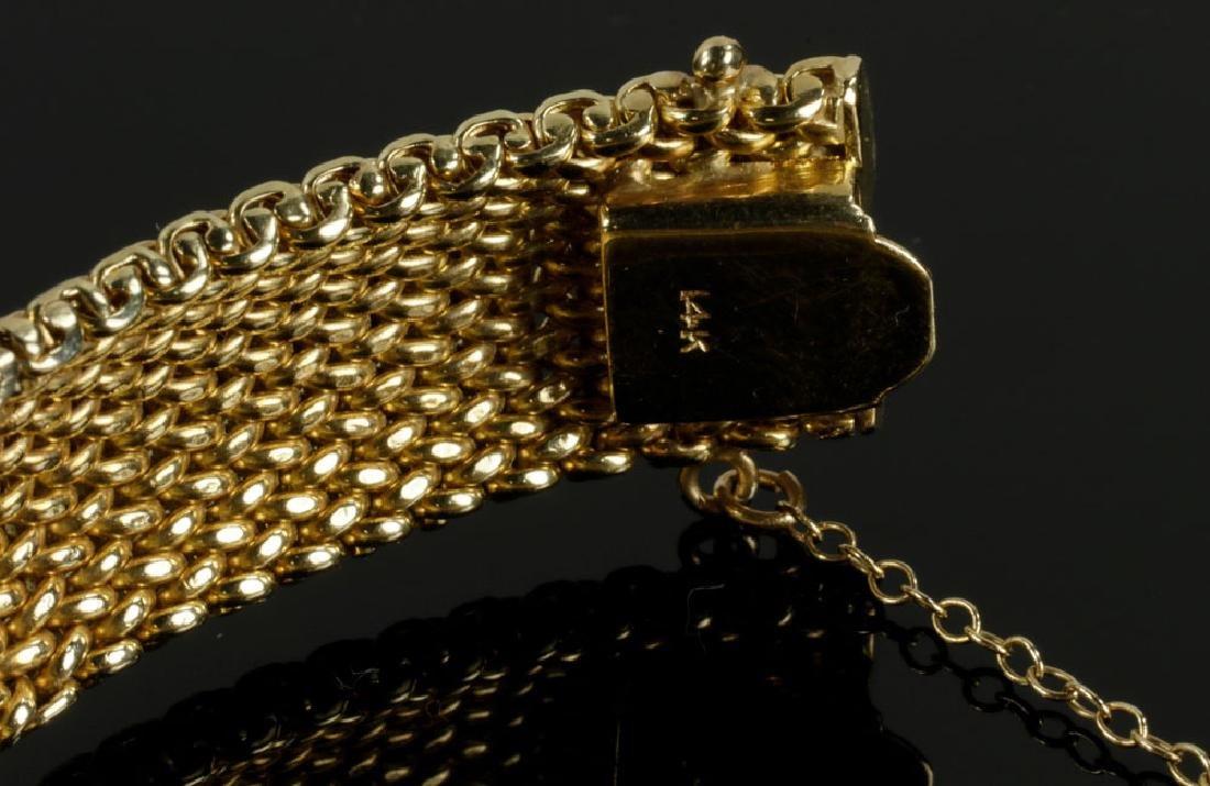 14K Gold Mesh and Diamond Bracelet - 4