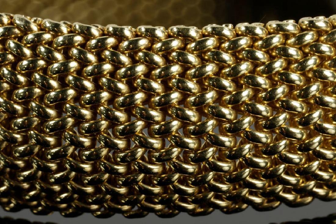 14K Gold Mesh and Diamond Bracelet - 5