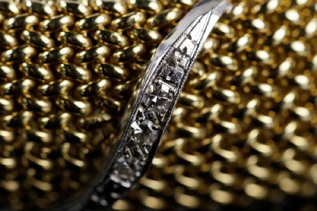 14K Gold Mesh and Diamond Bracelet - 6