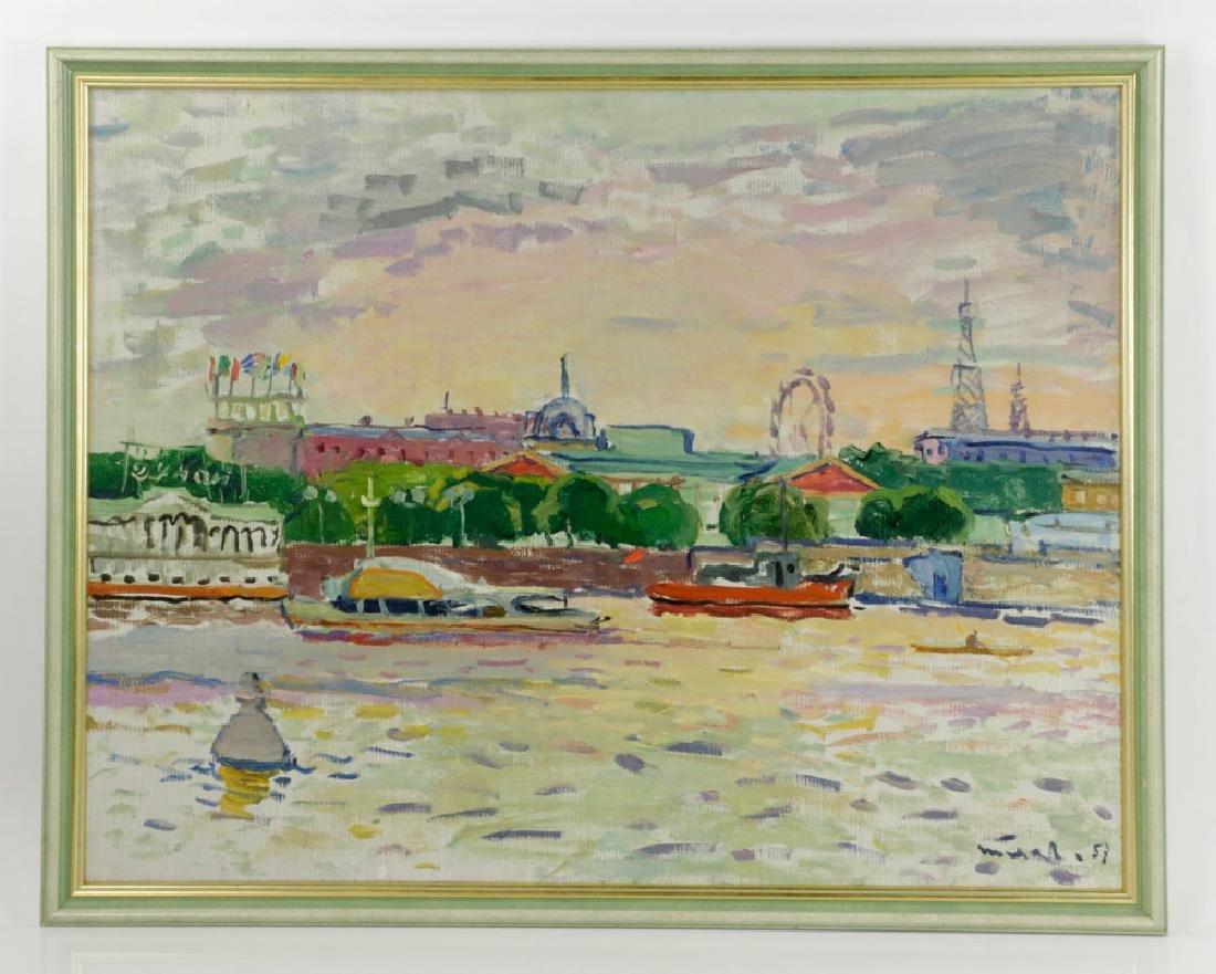 Polyakov, River Scene, Oil on Canvas