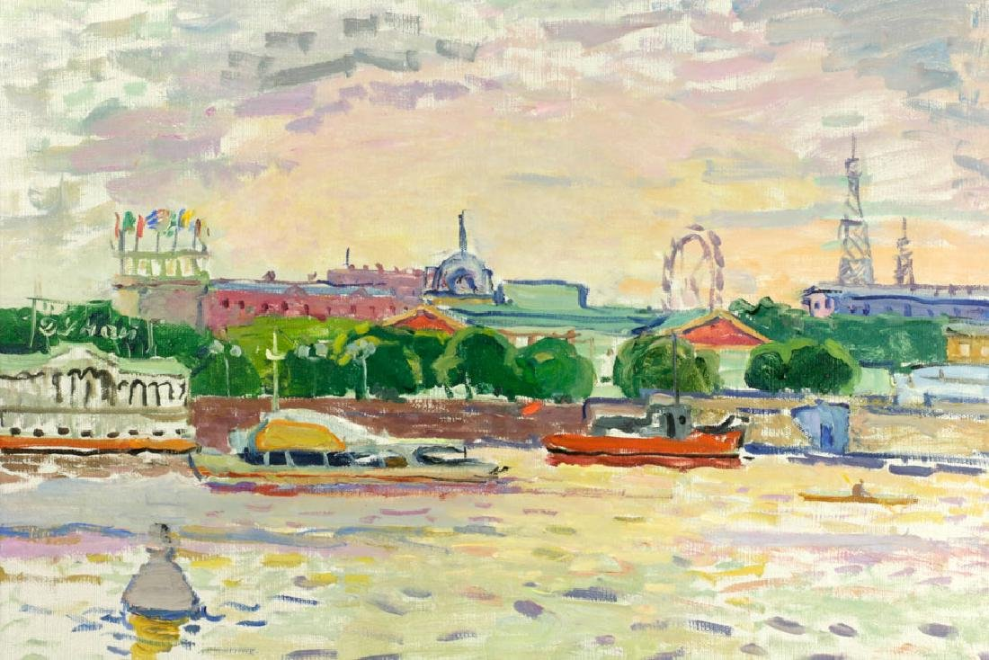 Polyakov, River Scene, Oil on Canvas - 3
