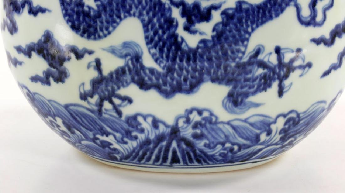 Chinese Blue and White Dragon Flask Vase - 5