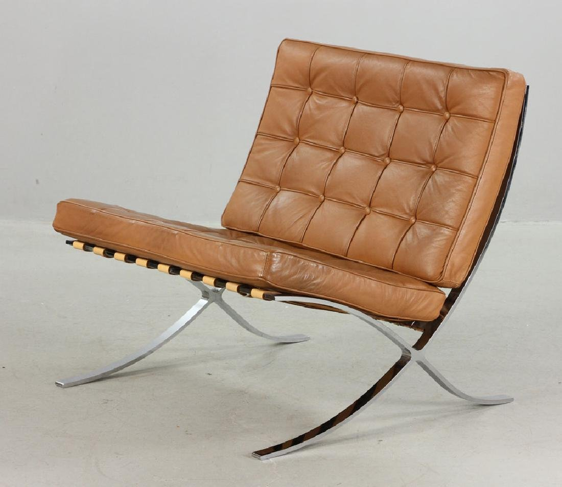 Brown Leather Barcelona Chair - 2