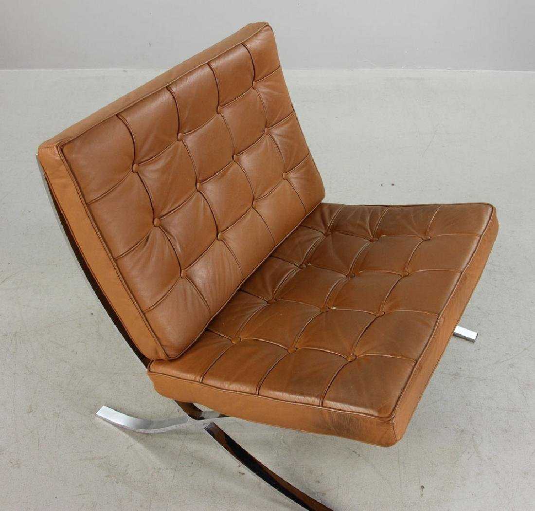 Brown Leather Barcelona Chair - 4
