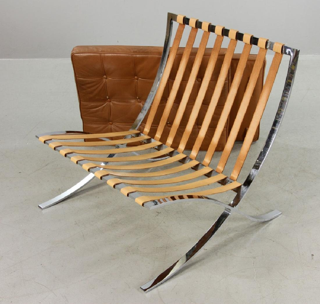 Brown Leather Barcelona Chair - 6