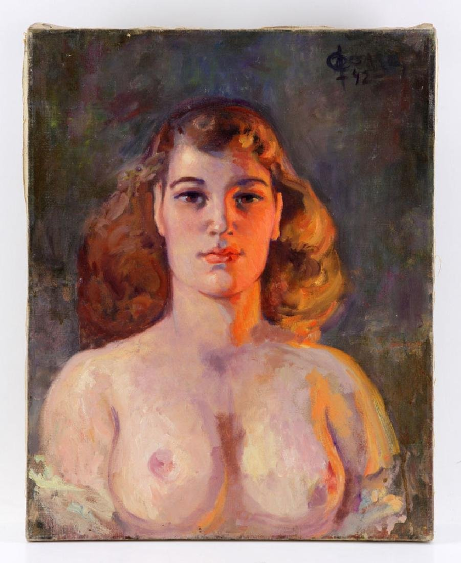 Di Cesare, Nude Portrait, Oil on Canvas