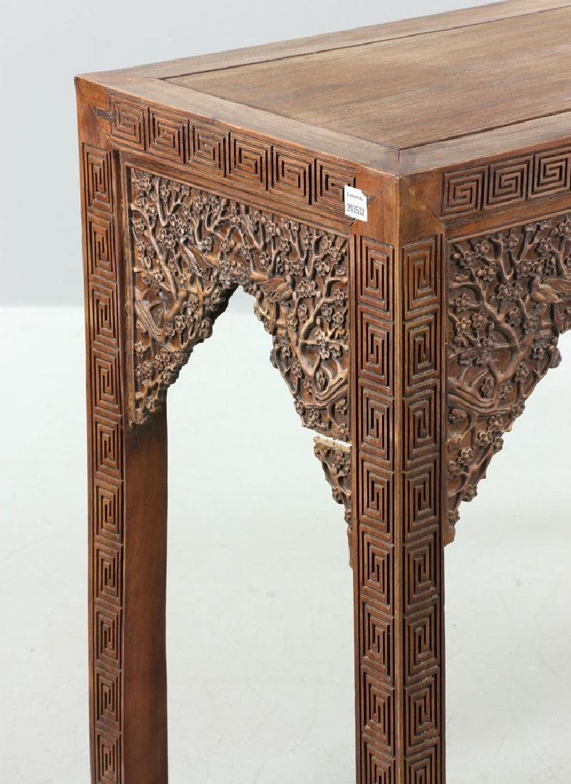 Chinese Carved Rosewood Scroll Table - 6