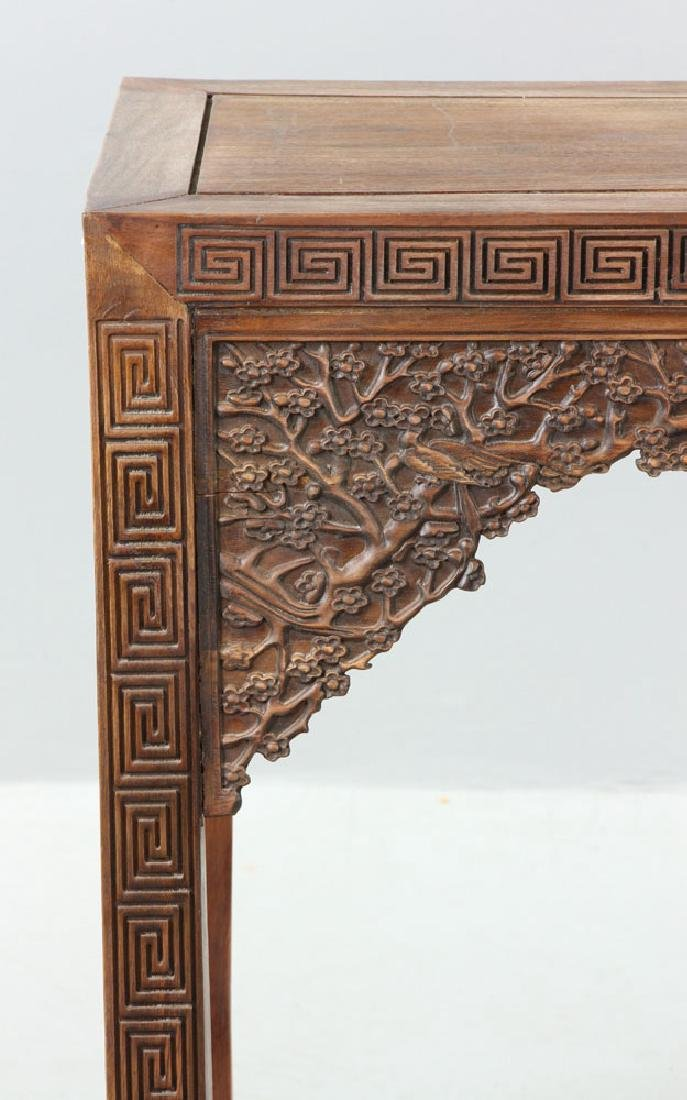 Chinese Carved Rosewood Scroll Table - 7
