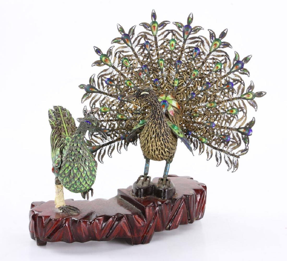 Chinese Enameled Silver Peacock - 2