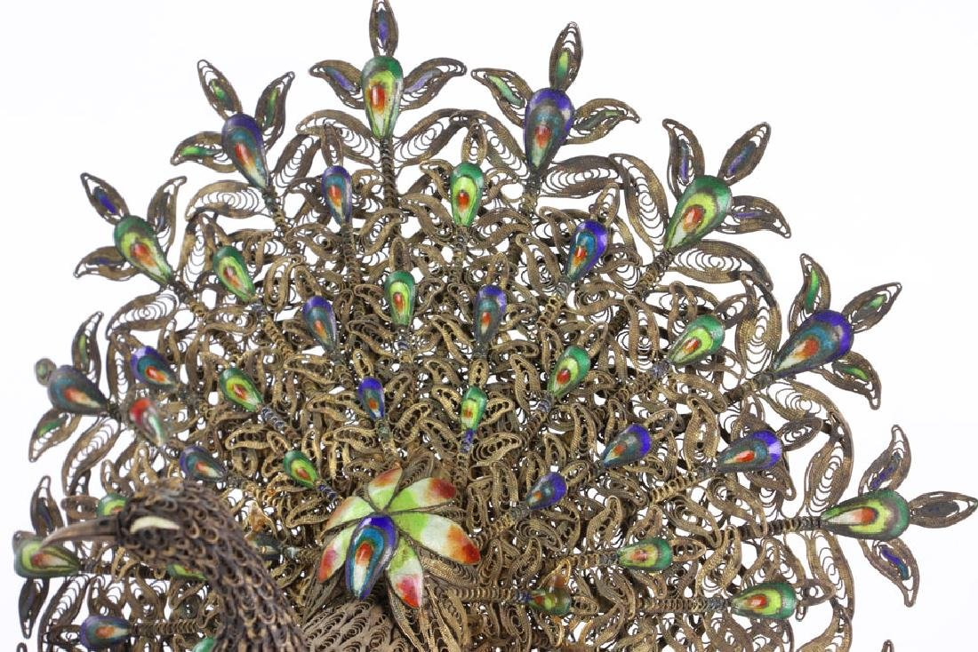 Chinese Enameled Silver Peacock - 3