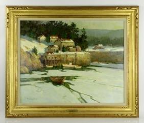 "Strisik, ""Winter Harbor,"" Painting"