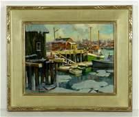 Mosher Gloucester Harbor in Winter Oil on Canvas