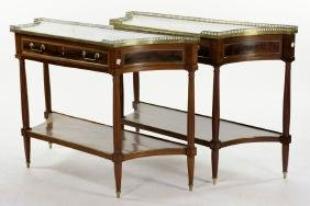 Pr. Louis Xvi Style Marble Top Console Tables
