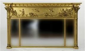 19th C. Classical Gilt Over Mantel Mirror