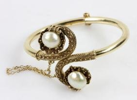 19th C. Victorian 14K Gold And Pearl Bracelet