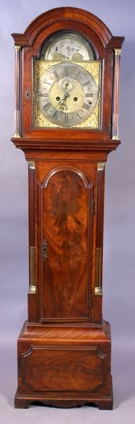 1001: CIRCA 1755 ENGLISH MAHOGANY TALL CASE CLOCK