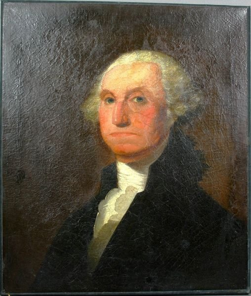 1002: EARLY 19th C. PORTRAIT OF GEO WASHINGTON, O/C