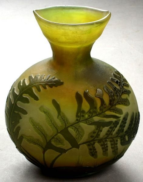 1004: 19thC. CARVED OVERLAY GLASS VASE SGND 'GALLE'