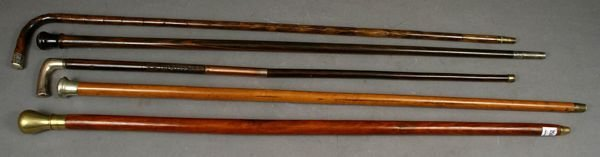 1008: COLLECTION OF (5) VINTAGE CANES, EXOTIC WOODS