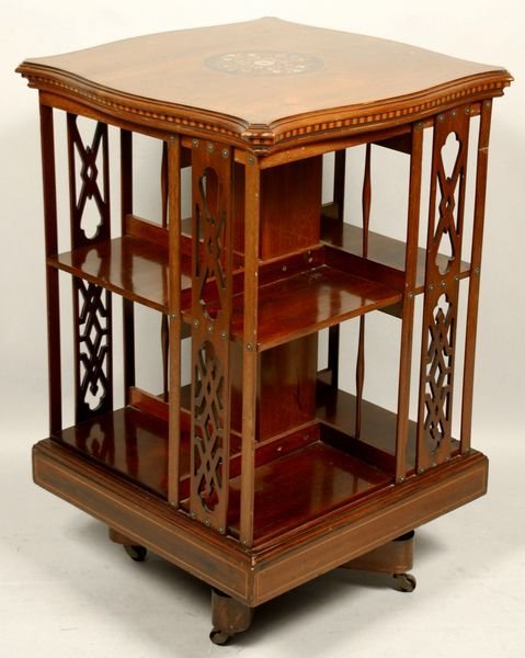 1010: 19th/20th C. INLAID WALNUT REVOLVING BOOKCASE