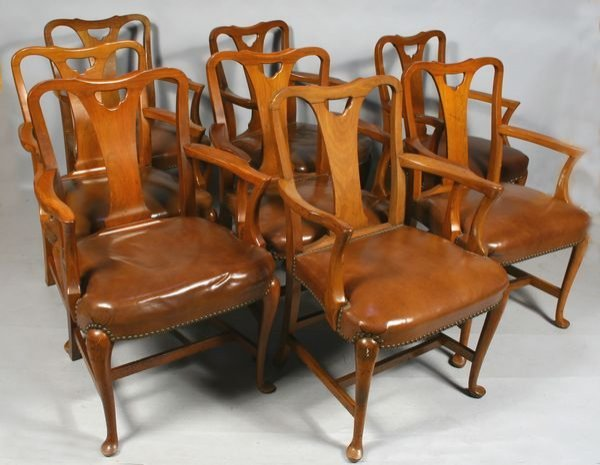 1012: EIGHT 20th C. QUEEN ANNE-STYLE ARMCHAIRS