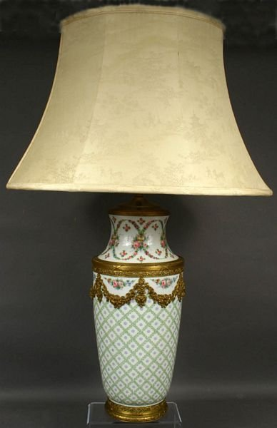 1019: 19th CENTURY SEVRES VASE CONVERTED TO LAMP