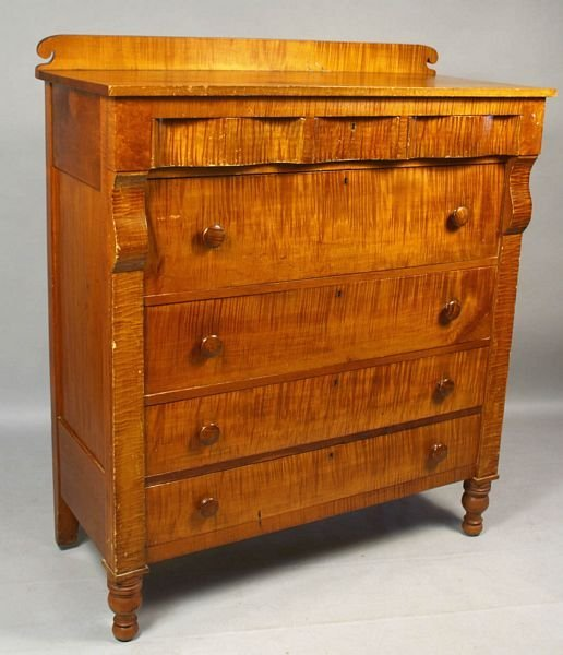 1020: 19th C. EMPIRE FIGURED MAPLE 3-OVER-4 CHEST