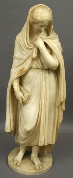 1023: 19th C. ITALIAN MARBLE SCULPTURE OF WOMAN