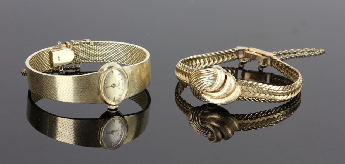 Two Ladies' 14k Gold Wristwatches, Geneve & Saro