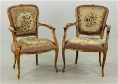 Pr of 19th C French Needlepoint Armchairs
