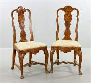 Pr of Early 19th C Dutch Marquetry Armchairs
