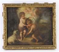 "18th/19th C. Italian School, ""Two Cherubs"", Oil on"