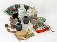 Large Collection Asian Porcelain Cloisonne Woodblocks