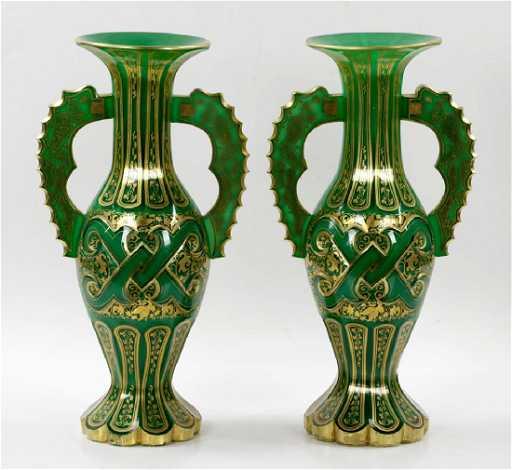 Pr Of Bohemian Glass Alhambra Form Vases