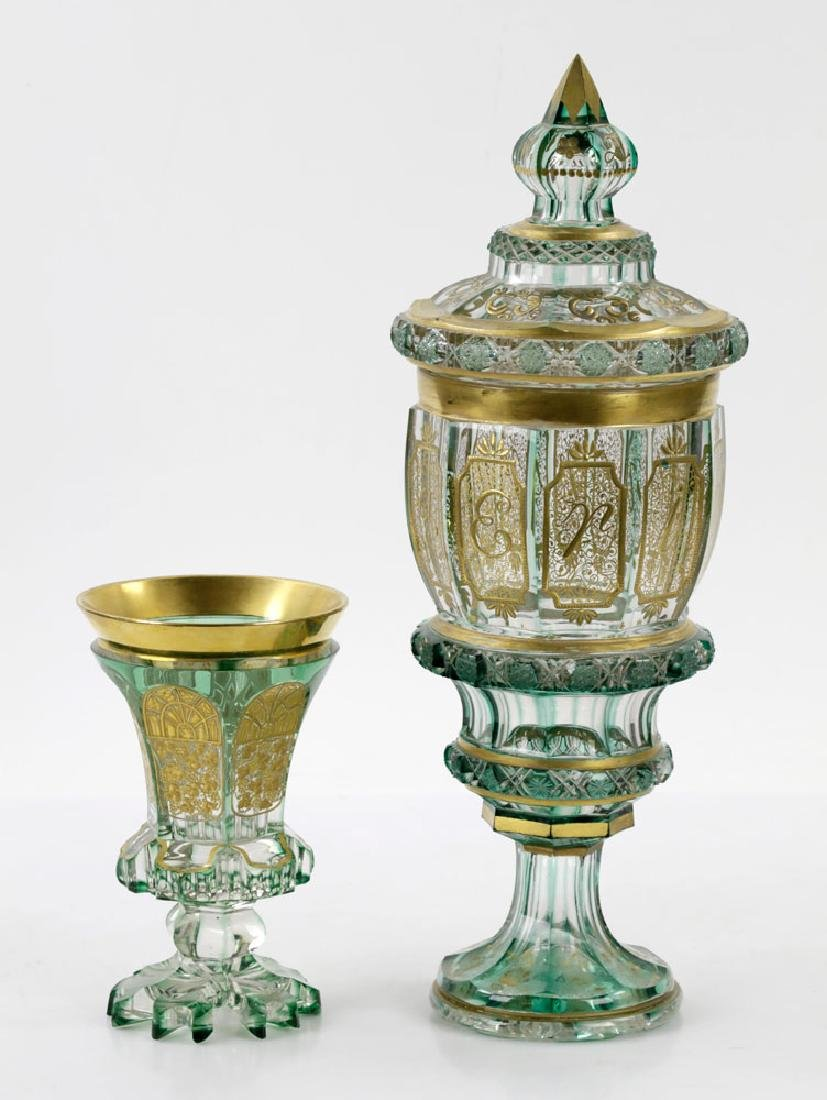 Early 19th C. Bohemian Glass Green Pokal & Goblet