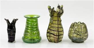 4 C1900 Bohemian Glass Vases