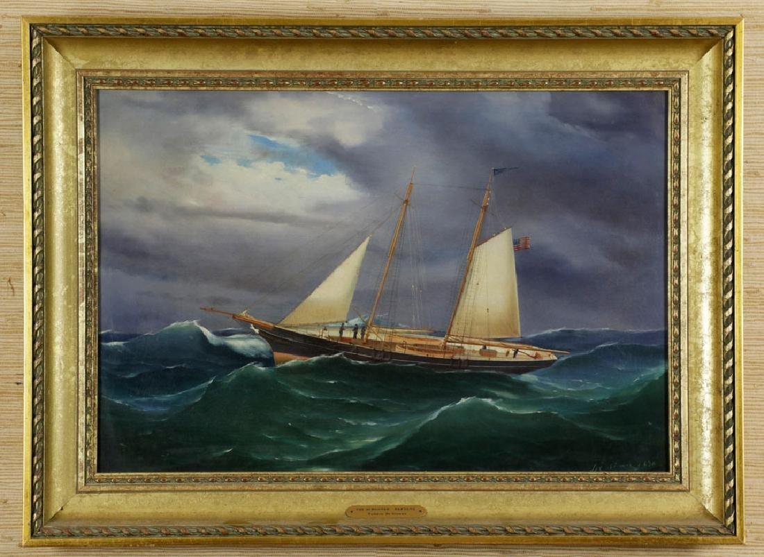 Signed Tomaso de Simone, Schooner Neptune, Oil on