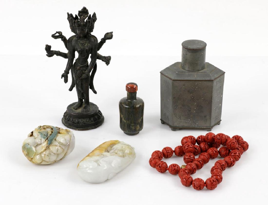 Group of Chinese Items, Pewter, Jadeite
