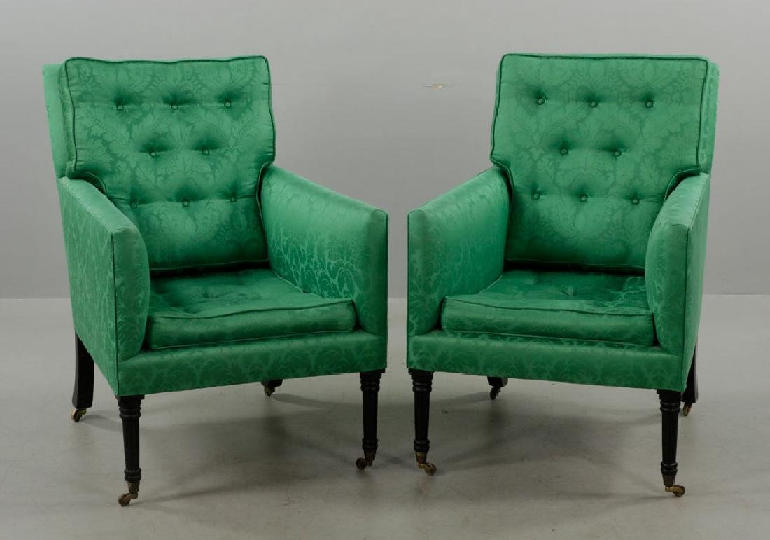 Pr of Armchairs w/ Green Satin Upholstery