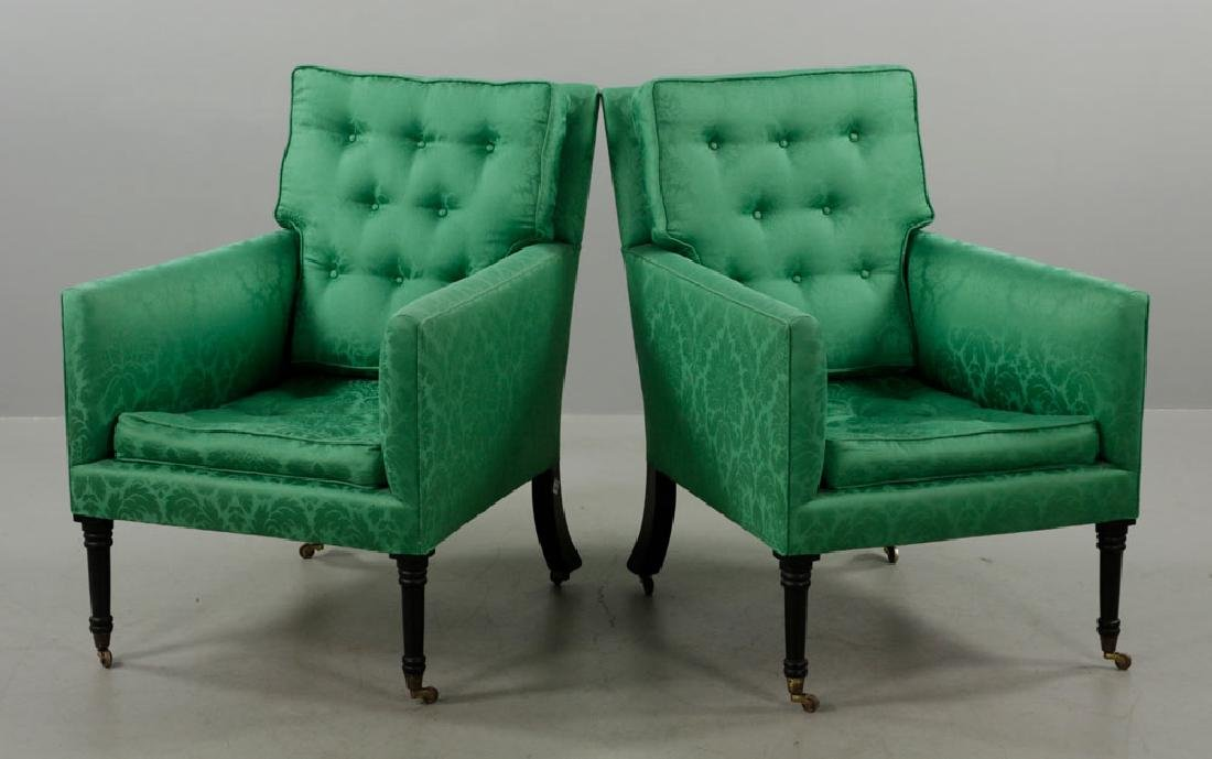 Pr of Armchairs w/ Green Satin Upholstery - 2