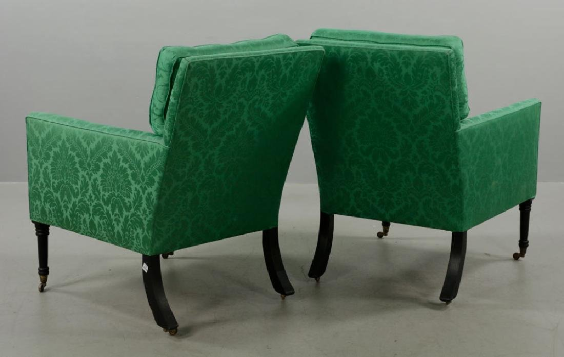 Pr of Armchairs w/ Green Satin Upholstery - 3