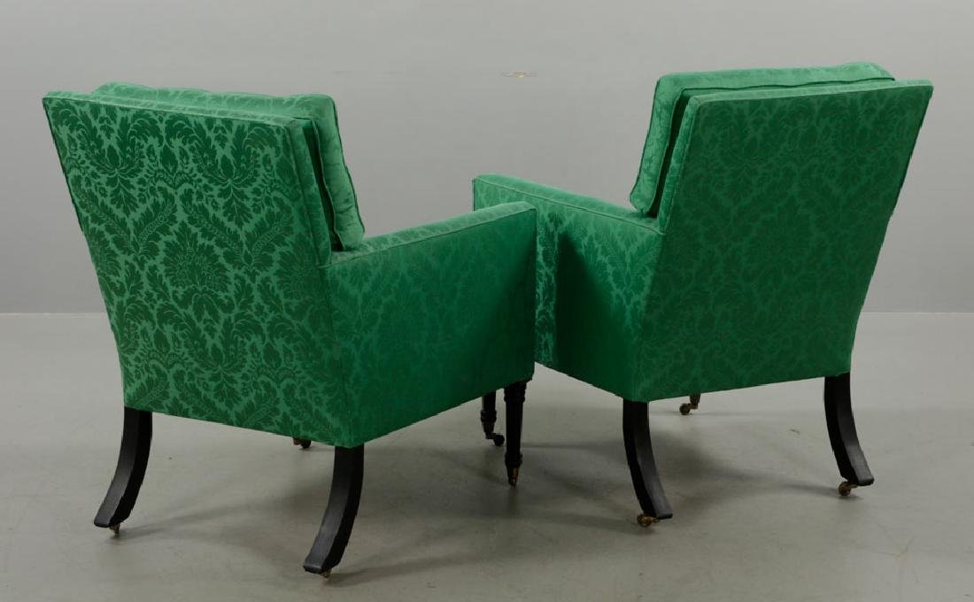 Pr of Armchairs w/ Green Satin Upholstery - 4
