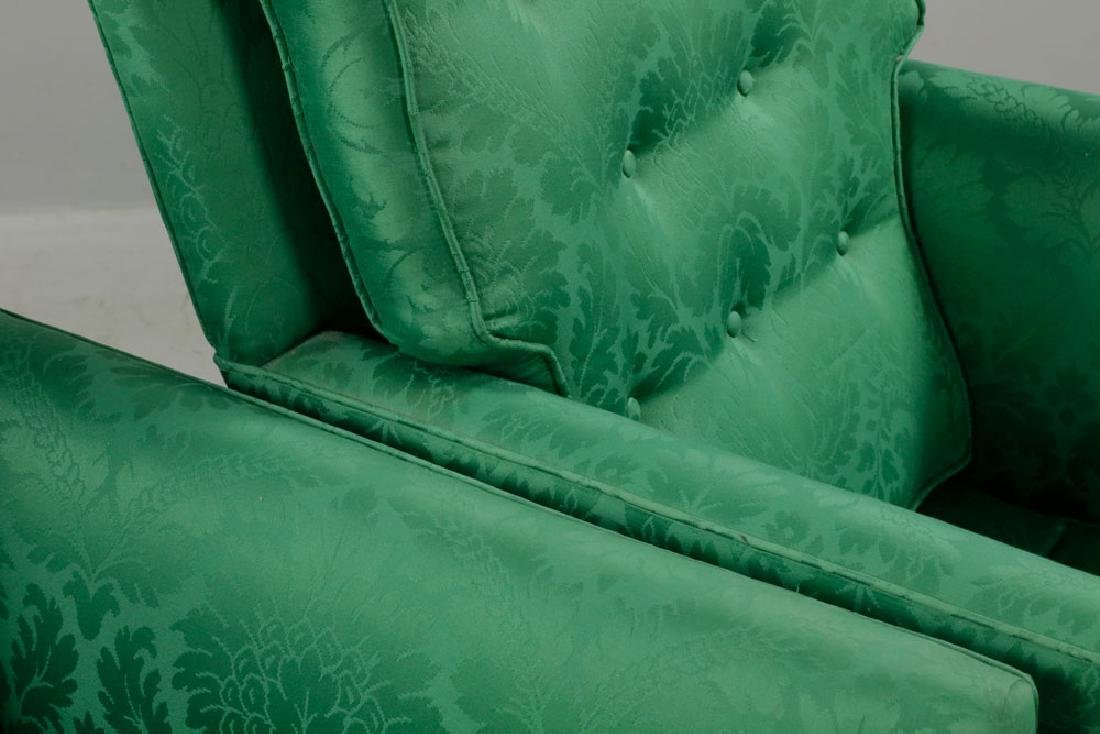 Pr of Armchairs w/ Green Satin Upholstery - 5