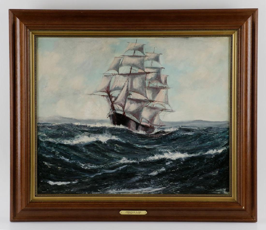 "Jonas Lie, ""Under Full Sail"", Oil on Board"