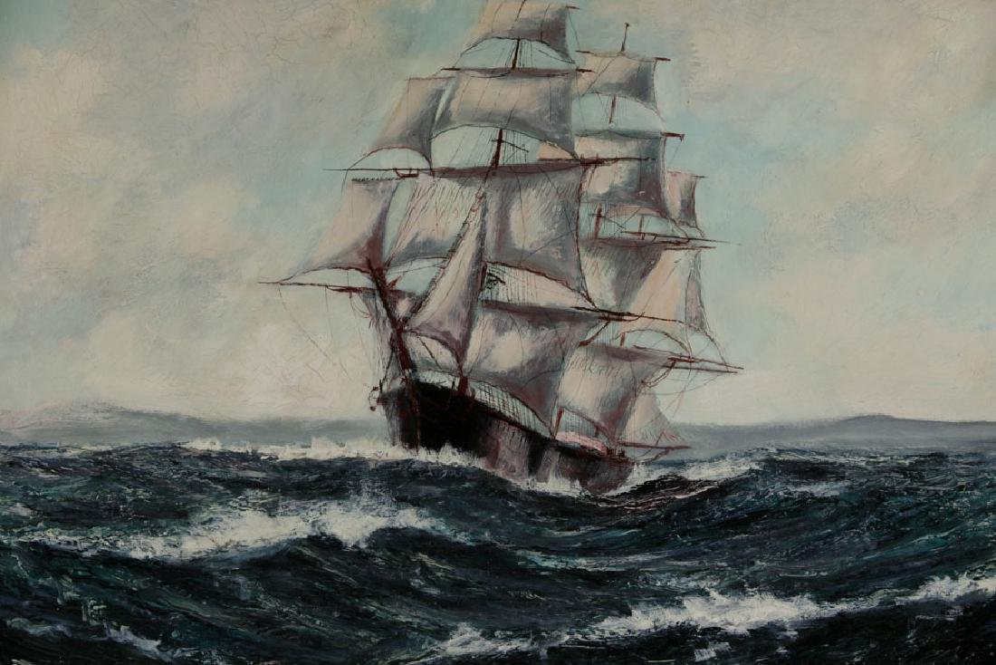 "Jonas Lie, ""Under Full Sail"", Oil on Board - 2"