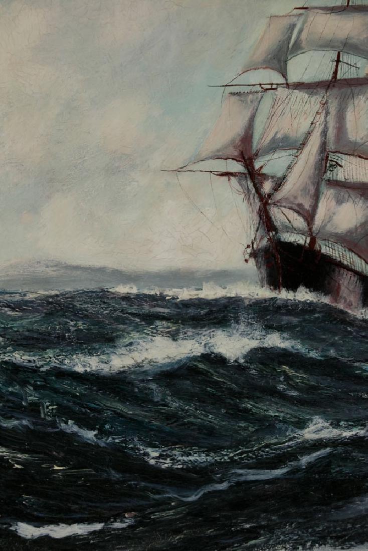 "Jonas Lie, ""Under Full Sail"", Oil on Board - 3"