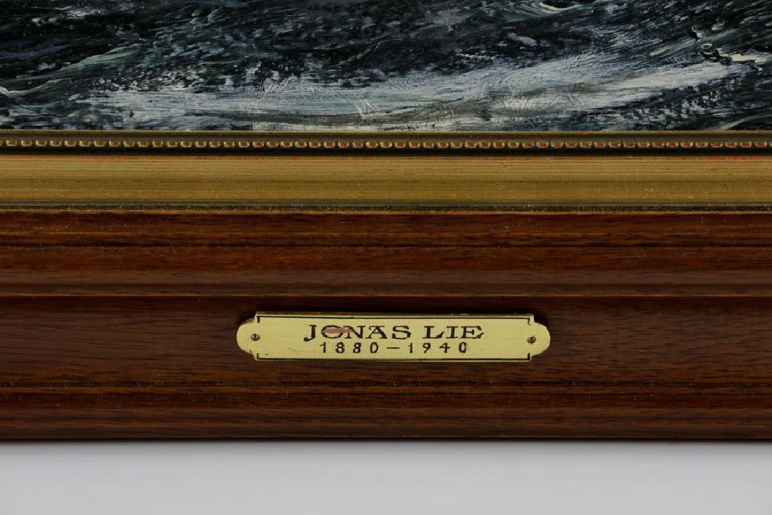 "Jonas Lie, ""Under Full Sail"", Oil on Board - 6"