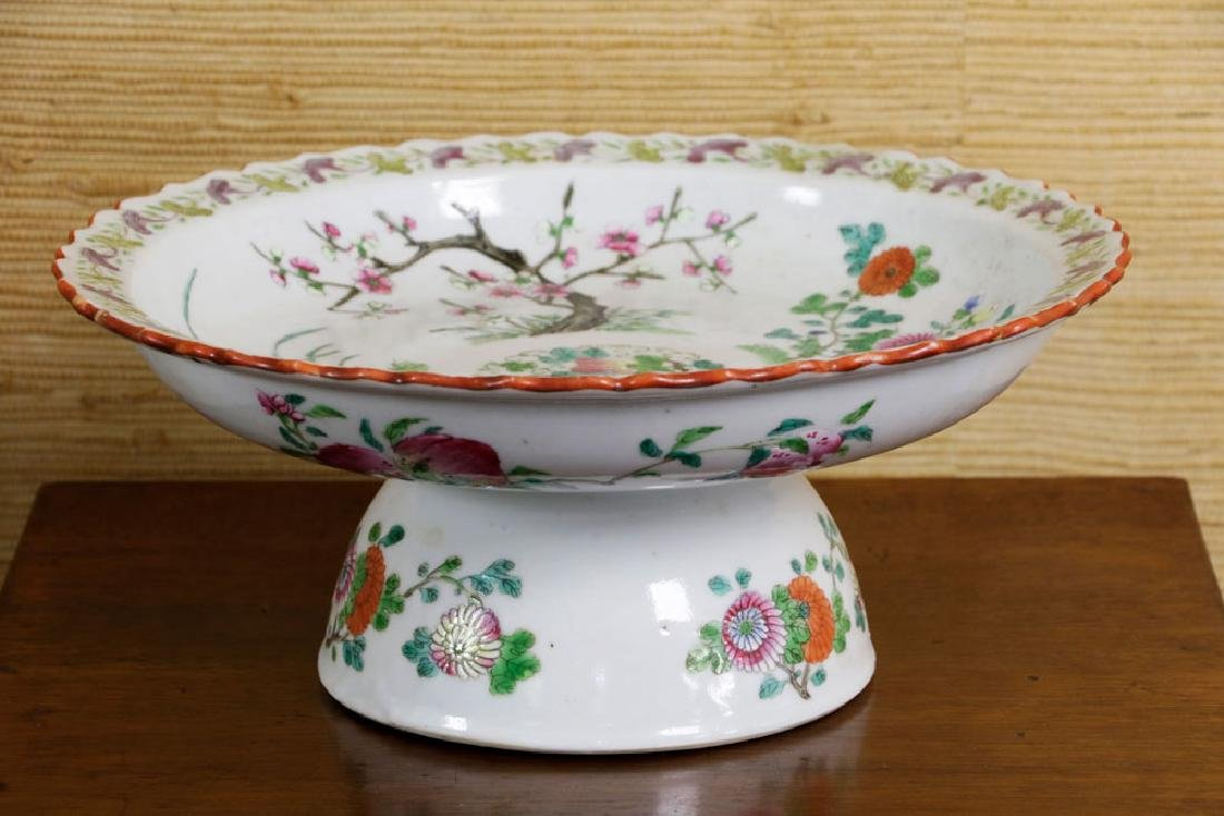 19th C. Chinese Polychrome Porcelain Tazza